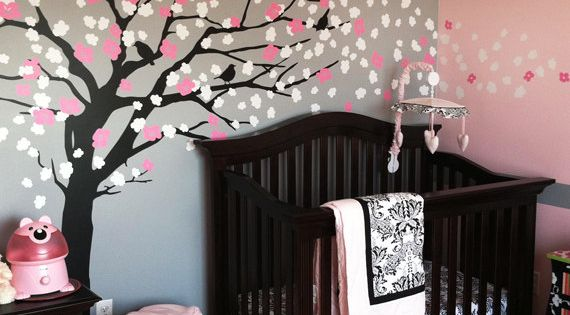 Cherry blossom tree painted in a little girl's room! Cutest baby room