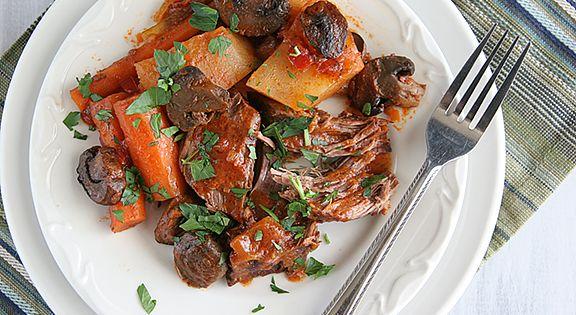 Fire Roasted Tomato Pot Roast tomato mushrooms recipe