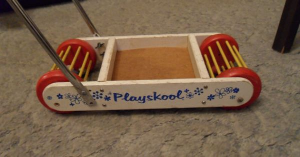 Vintage Playskool Wooden Push Toy With By