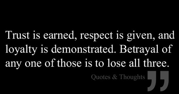 Betrayal Of Trust Quotes: Trust Is Earned, Respect Is Given, And Loyalty Is