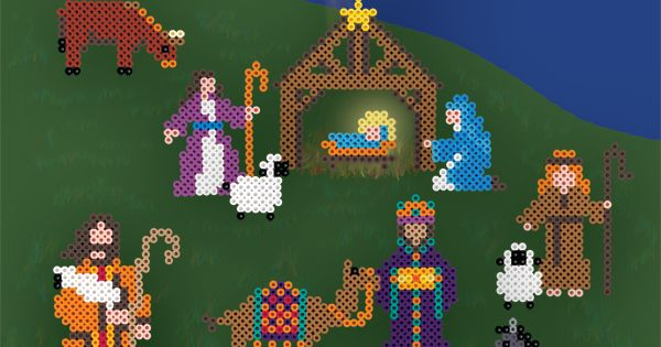 Nativity set to do with perler beads. At site you can download