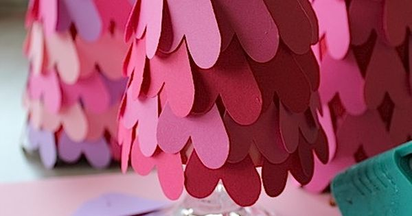 paper heart trees for valentines day decor