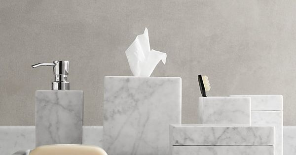 Carrara Marble Bath Accessories From Restoration Hardware Tissue Cover 129 Retail And 5 W X