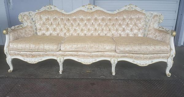 Vintage Victorian Hollywood Regency White And Gold Brocade Couch Antique French Provincial Carved Wood White S Victorian Couch Couches For Sale Matching Chairs
