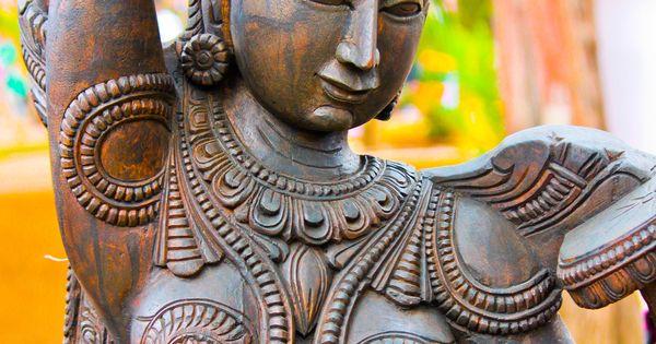 Statue Of Indian Woman Applying Bindi Dot On Forehead -3775