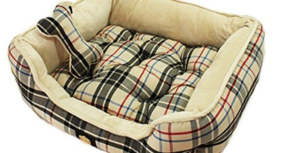 Cozy Checkered Fleece Lined Pet Bed House Home Mattress With Bone Pillow For Dog Puppy And Cat You Can Get More Details By Clickin Bed Dog Bed Pillows