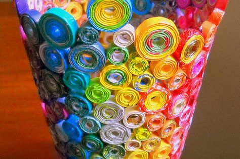 Rainbow Vase - just roll paper or magazine strips and hot glue