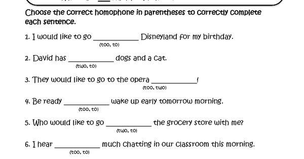 choosing to two too homophones worksheets school pinterest worksheets language and. Black Bedroom Furniture Sets. Home Design Ideas
