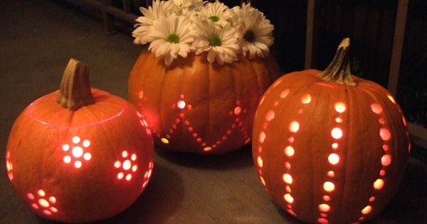 How to carve pumpkins with a drill - SO cute and so