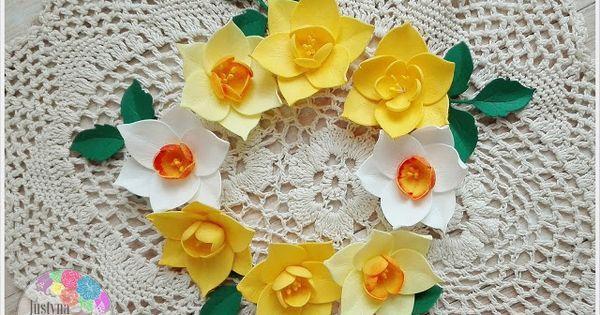 Foamiran Polska Kurs Na Zonkile Narcyzy Do Kartek Floral Floral Wreath Scrapbook