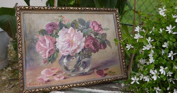 tableau ancien bouquet de roses brocante de charme atelier brocante de charme pinterest. Black Bedroom Furniture Sets. Home Design Ideas