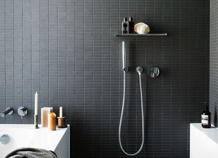 tub & shower combo Matte Black Tile | Soaking Tub | Open