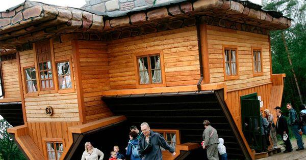 The upside-down house created by Daniel Czapiewski in the village of Szymbark,