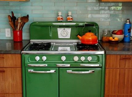 vintage green stove/ subway tile color!!!