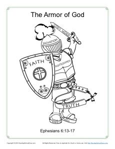 Armor Of God For Kids Coloring Page Activity Armor Of God