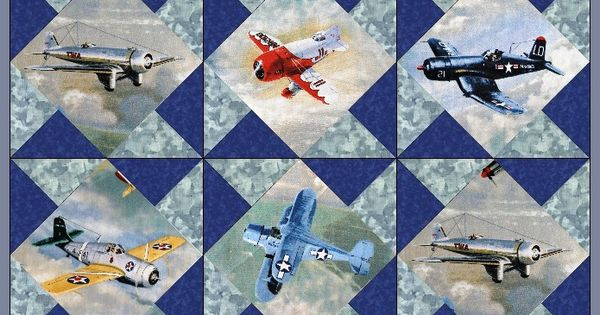Airplanes Vintage Fighter Planes Quilt Blocks Kit Pre Cut