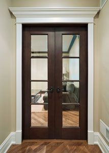 Narrow Mahogany Double Doors With Glass For Entry To Study On