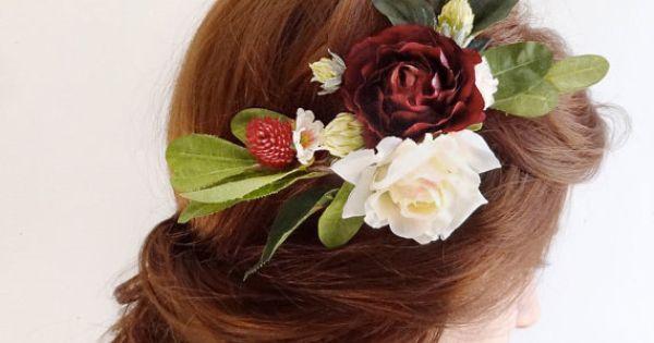 Burgundy Hair Accessory Bridal Hairpiece Flower Wedding Hair Clip Hair Comb Rustic Wedding