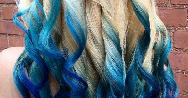 Blonde Royal Blue Ombre Dyed Hair Color Colorful Hair