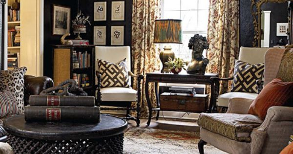 Caroline Scheeler's home - living room dark walls, great mix of patterns