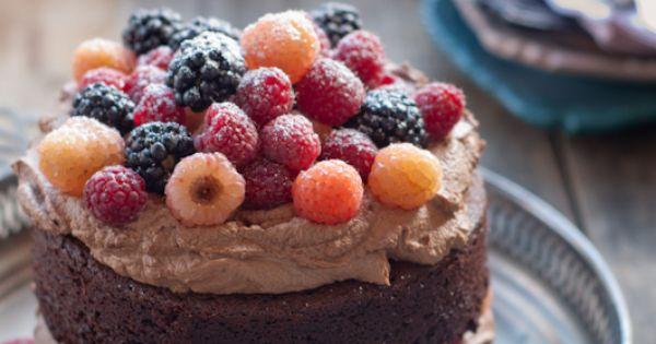 Sweet cake with fruit on