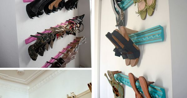 Crown Molding as high heel storage. GREAT idea for master closet