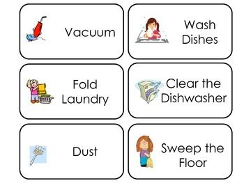 Household Chores Printable Picture Word Flash Cards Preschool Flashcards Flashcards English Classes For Kids Printable Flash Cards
