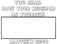 Love Your Neighbor Coloring Page Activity Matthew 22 39 Love