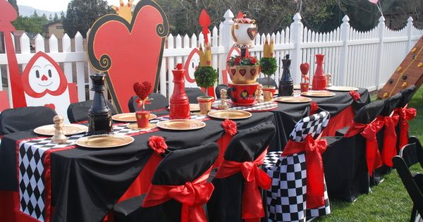 Wonderland Queen of Hearts prop rental and decorating services provided by :