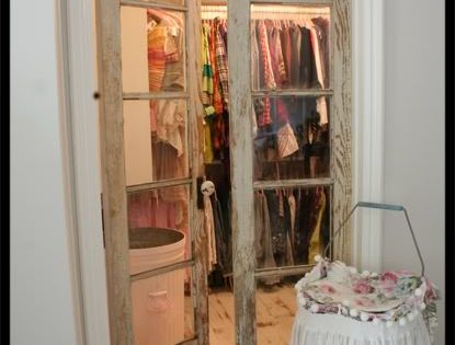 Old doors repurposed for closet doors.... good idea for the door I