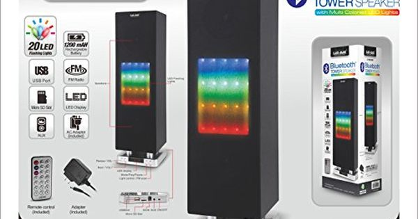 Jaras Laxmax Pro Big Tower Bluetooth Speaker Rechargeable Battery With Usdsdaux Fm Radio Multi Colored Led Lights Colored Led Lights Multi Color Led Homeaudio