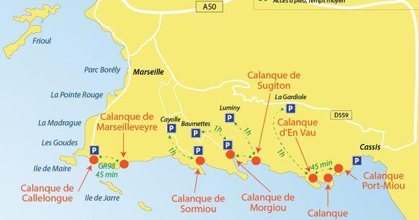 Plan Des Calanques Entre Marseille Et Cassis Destination Voyage