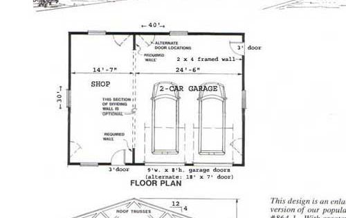 Two car garage with shop plan no 1200 1 40 39 x 30 39 by behm for Garage floor plan software