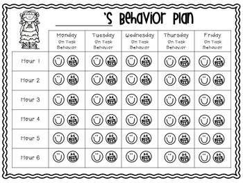 Behavior Plan For Off Task Behavior Freebie Set Behavior Plan Behaviour Chart Behavior