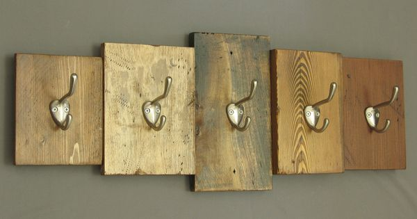 Rustic wooden coat rack reclaimed wood cabin decor wall for Wooden nickel cabins