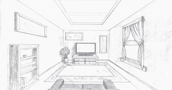 Room in perspective single point perspective room by a - One point perspective drawing living room ...
