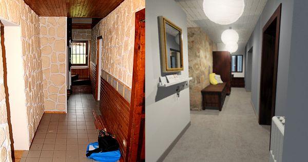 couloir avant apr s home staging r habilitation mur en pierres bois brut fonc sol. Black Bedroom Furniture Sets. Home Design Ideas