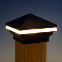 Iris Led Post Cap Light By Aurora Deck Lighting Black 3 5 8 Deck Post Lights Led Deck Lighting Fence Post Caps