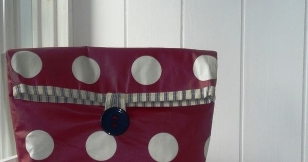 Large red spotty cosmetic pouch wash bag in pvc oilcloth type fabric