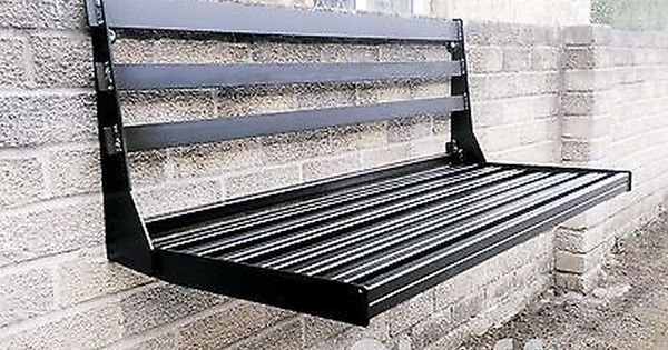 2 Seater Space Saving Wall Mounted Foldable Metal Garden Seat Bench Wall Seating Outdoor Furniture Design Folding Bench