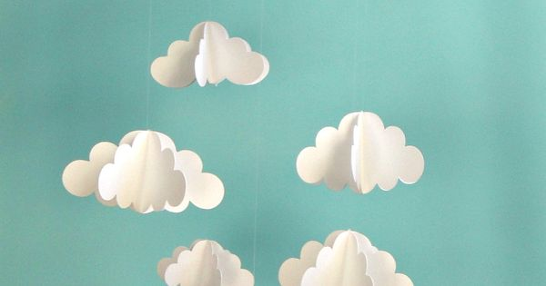 Cloud Mobile, Nursery Mobile, 3D Paper Cloud Mobile, Baby Mobile.