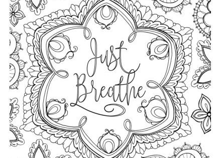 Just Breathe Colouring Page Cardmaker Words Coloring