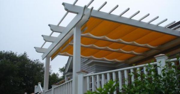 Easy Way To Add A Retractable Cover To A Pergola Attach A Curtain Rod On Top Of Each Side And Put Shower Rings On Yo Pergola Shade Pergola Pergola Shade Cover