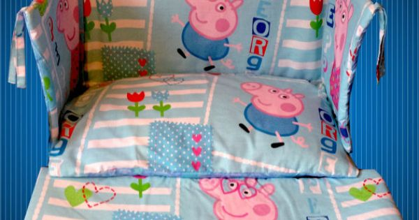 Peppa pig george pig blue cot crib bedding set curtains for George pig bedroom ideas