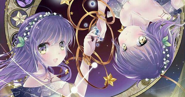 Anime Characters Gemini : Gemini anime girls text zodiac signs