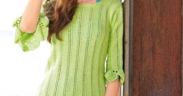 пуловер с ажурной каймой крючком