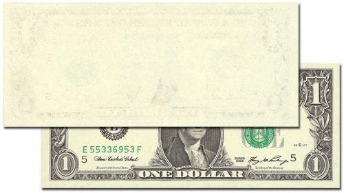 Us Currency Error Blank Back Stamp Money