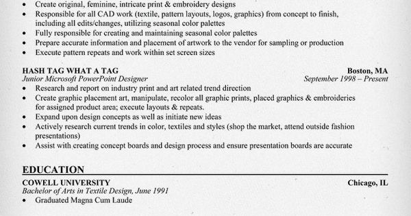 textile designer resume example  clothes  fashion