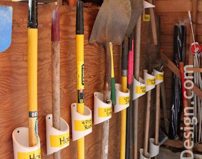 PVC Organizers Keep those yard tools organized and out of the way