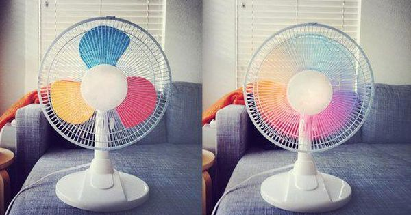 DIY rainbow painted fan blades!
